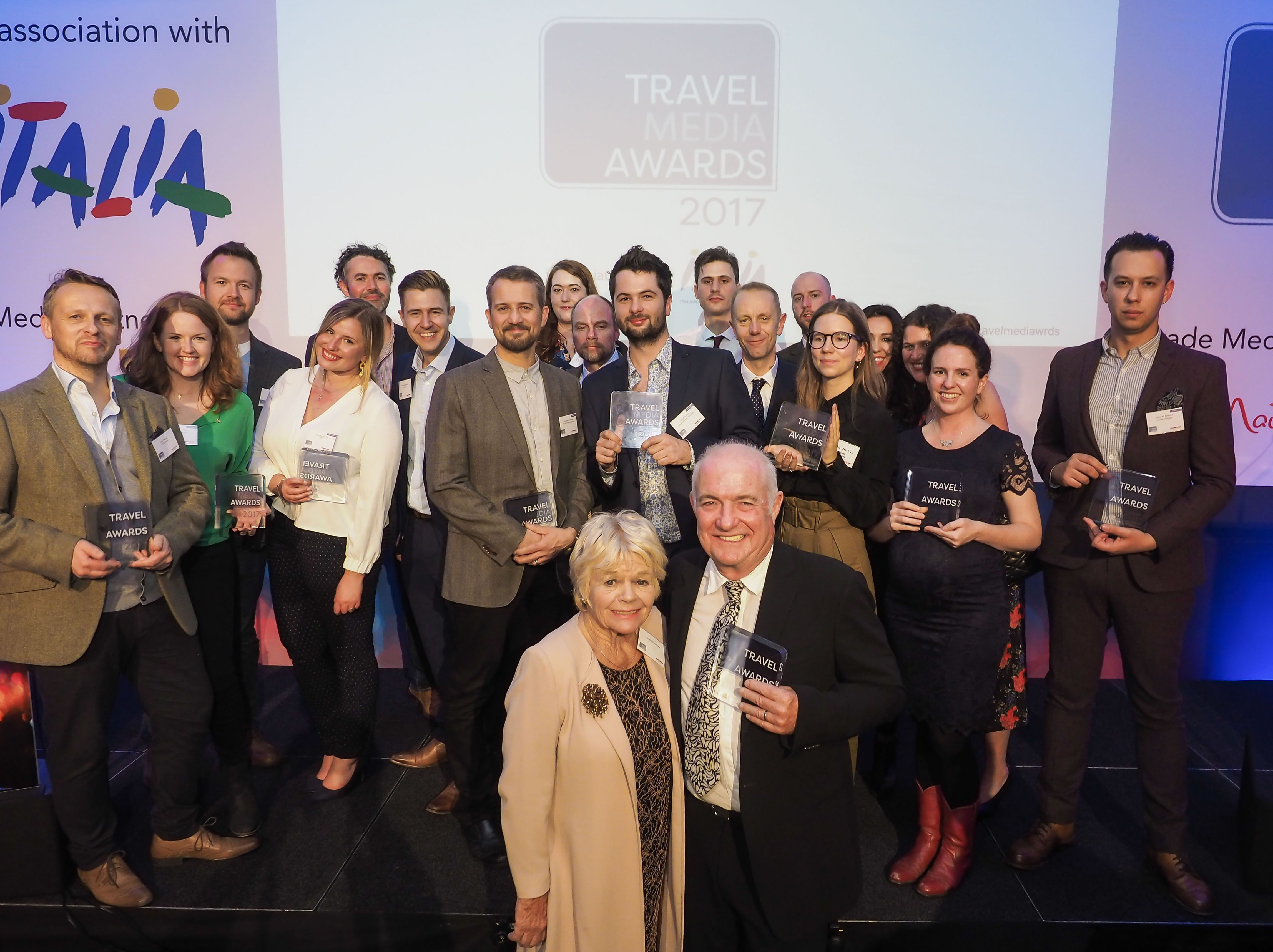 The winners of the Travel Media Awards 2017, along with Special Contribution Award recipient, Rick Stein OBE, and Judith Chalmers OBE